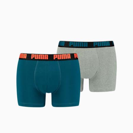 PUMA Basic Men's Boxers 2 pack, blue / grey melange, small