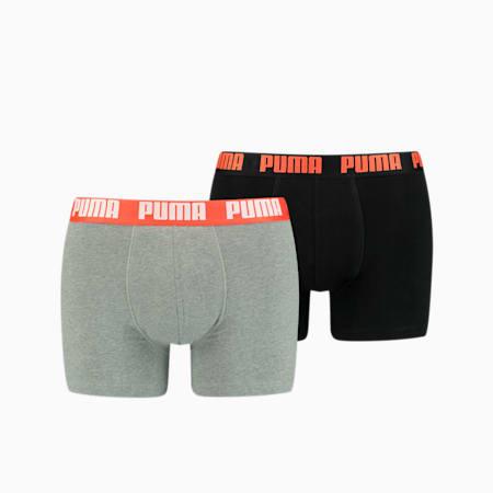 PUMA Basic Men's Boxers 2 pack, grey melange / black, small