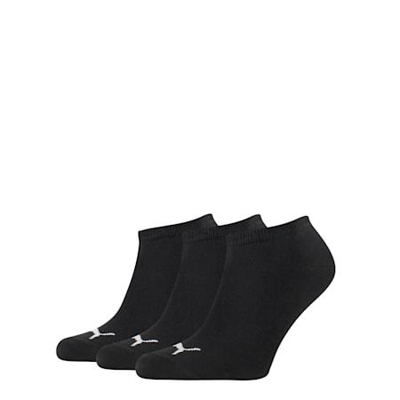 PUMA Unisex 3 pack Sneaker Plain Socks, black, small-SEA