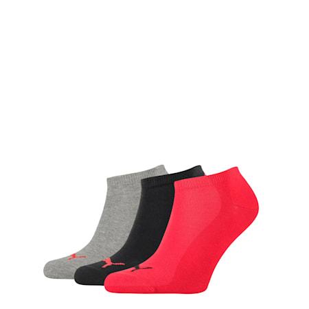 PUMA Unisex 3 pack Sneaker Plain Socks, black/red, small-SEA