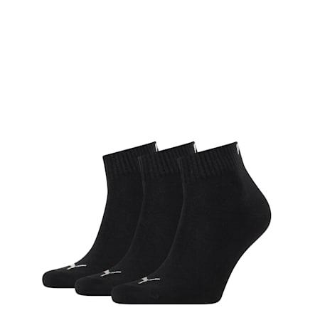 PUMA Unisex 3 pack Quarter Socks, black, small-SEA
