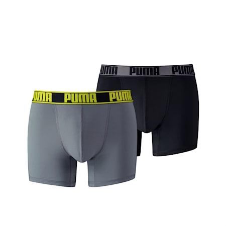 Active Men's Boxer Shorts 2 Pack, grey / yellow, small