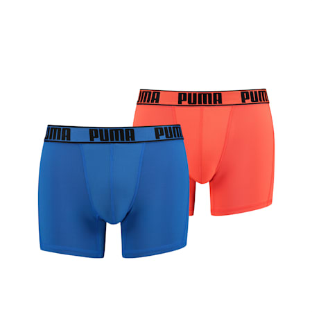 PUMA Active Men's Boxers (2 Pack), blue / orange, small