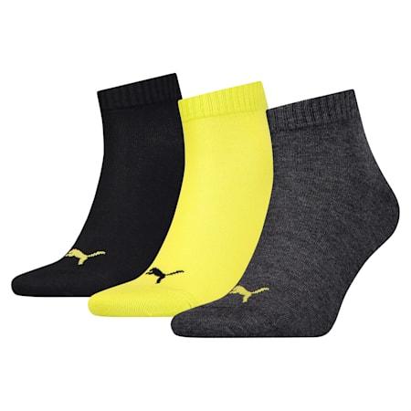 Lot de trois paires de chaussettes unies trois-quarts, black / yellow, small