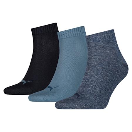 Unisex Quarter Plain Socks 3 pack, denim blue, small