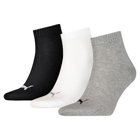 PUMA Unisex Quarter Plain Socks 3 pack, grey/white/black, small