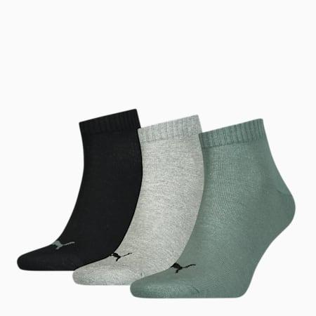 Unisex effen quartersokken 3 paar, black / grey / green, small