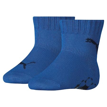 Baby Anti-Slip Crew Socks 2 Pack, blue / blue, small-SEA