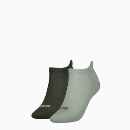 Women's Trainer Socks 2 Pack, aqua green, small