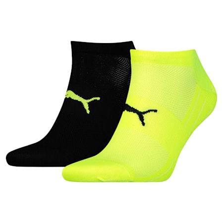 Performance Train Light Unisex Sneaker Socks Two-Pack, black / grey / yellow, small