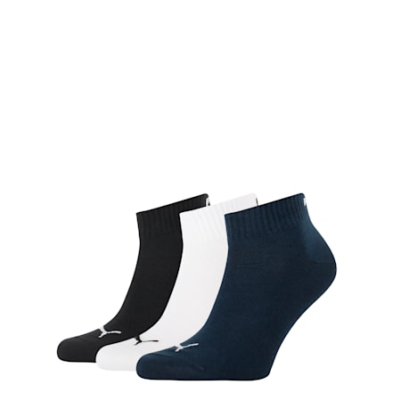 Basic 3 Pack Quarter Sports Socks, navy / white / black, small-SEA