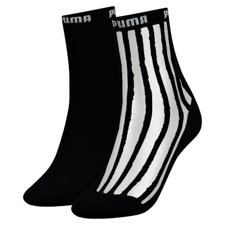 Transparent Stripe Damen Kurze Socken 2er Pack, black / antracite, small