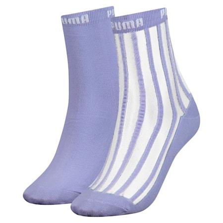 Transparent Stripe Women's Short Socks 2 Pack, pastel lavender, small