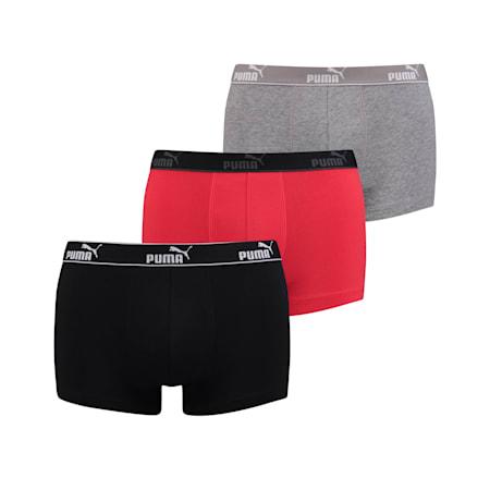 Men's Basic Boxer 3 Pack, black/red, small-SEA