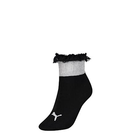 PUMA x SG Ruffle Short Crew Socks, black, small-SEA