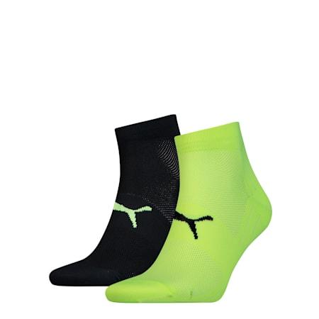 Performance Train Light Unisex Quarter Socks 2 pack, black / grey / yellow, small