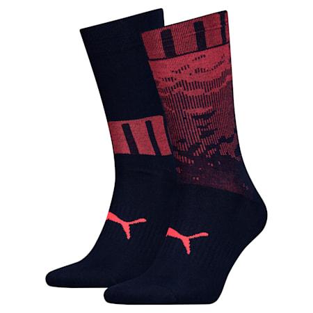 Men's Socks 2 Pack, blue / red, small
