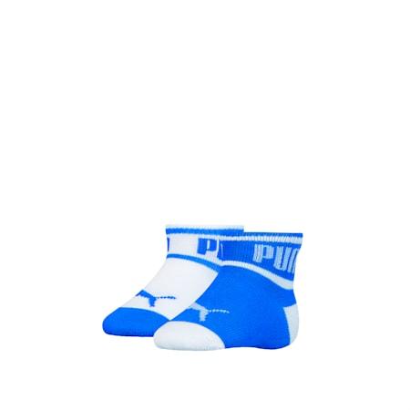 PUMA Babies' Wording Socks (2 Pack), white / blue, small-SEA