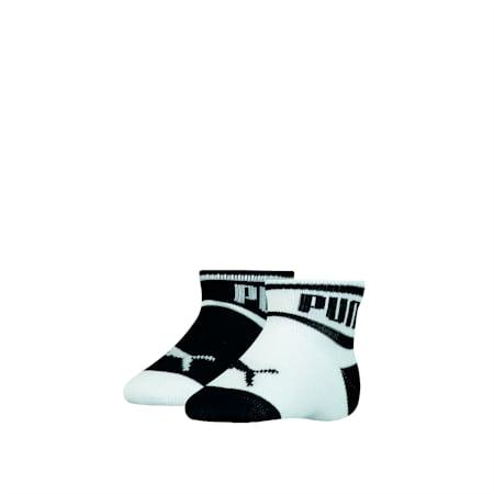 Skarpetki dla niemowląt z napisem PUMA Babies (dwupak), black / white, small