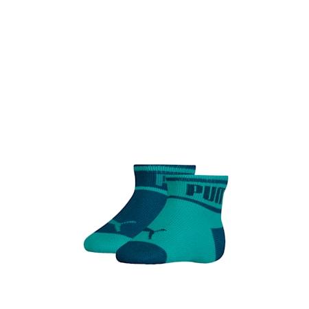 PUMA Babies' Wording Socks (2 Pack), aqua green, small