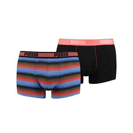 Boxer aderenti PUMA Worldhood a righe (confezione da 2), blu / arancio, small