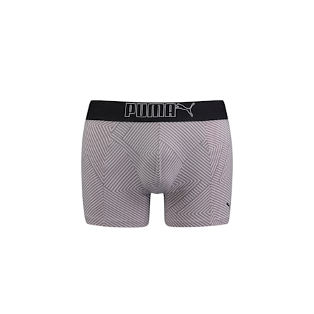 PUMA Geostripes Lifestyle Men's Boxer (1 pack), grey / green, small