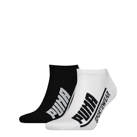 PUMA Logo Herren Sneaker Socken 2er Pack, black / white, small