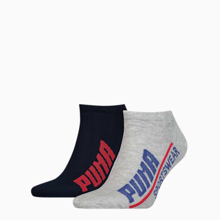 PUMA Logo Men's Trainer Socks (2 pack), blue combo, small