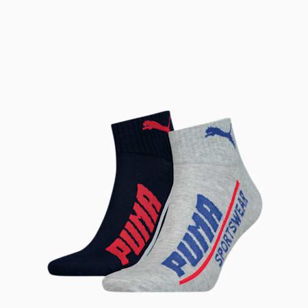 Lot de deux paires de chaussettes PUMA Logo Quarter pour homme, blue combo, small