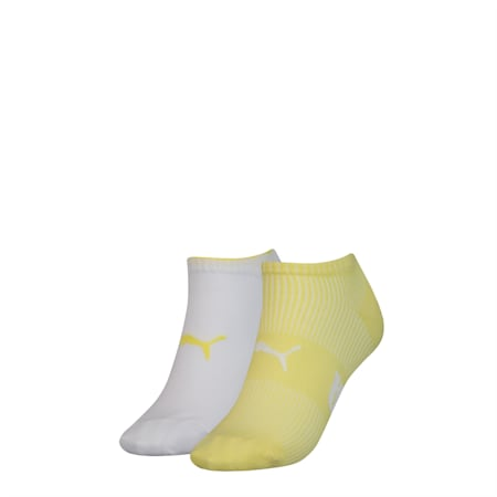 PUMA Structure Women's Trainer Socks (2 pack), yellow, small