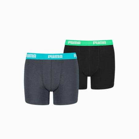 PUMA Basic Jungen Boxershorts 2er Pack, india ink / turquoise, small