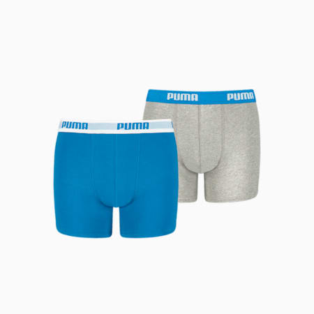 Basic Boy's Boxers 2 pack, blue / grey, small