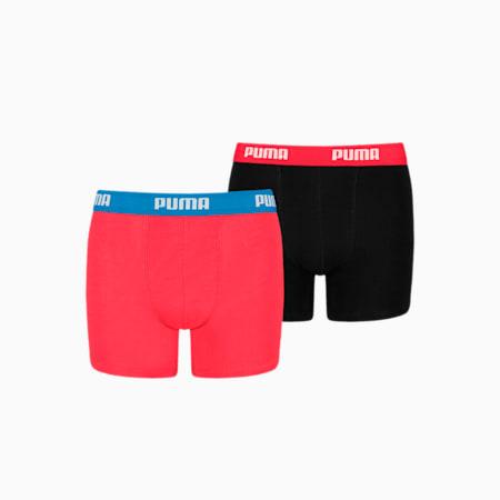 Chłopięce bokserki PUMA Basic (dwupak), red / black, small
