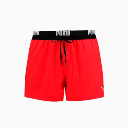 PUMA Logo Men's Short Length Swimming Shorts, red, small-GBR
