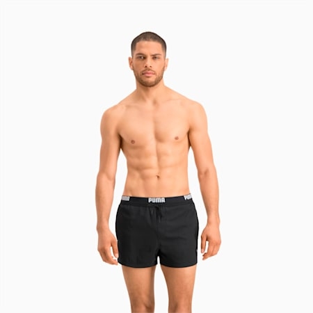 Logo Men's Short Length Swimming Shorts, black, small-GBR