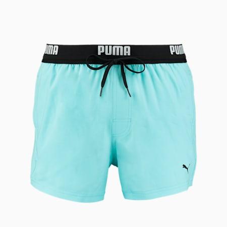 PUMA Logo Men's Short Length Swimming Shorts, angel blue, small