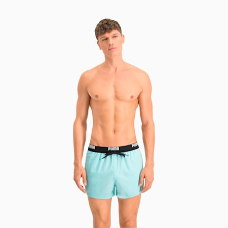 PUMA Logo Men's Short Length Swimming Shorts, angel blue, small-GBR