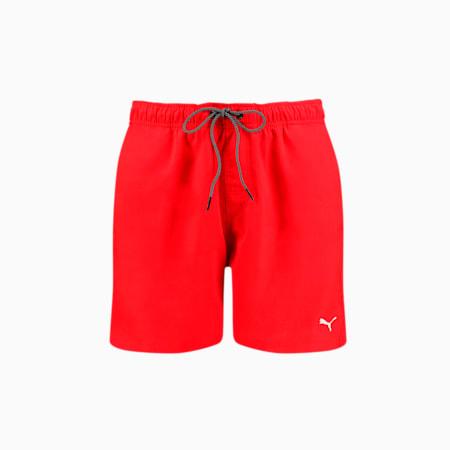 PUMA Swim Herren Mittellange Badeshorts mit sichtbarem Kordelzug, red, small