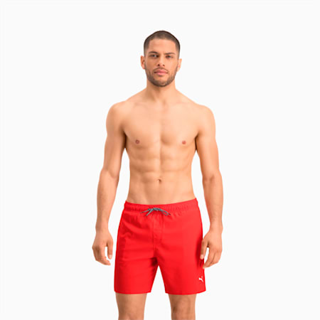 Swim Mid-Length Men's Swimming Shorts, red, small