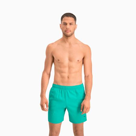 PUMA Swim Herren Mittellange Badeshorts mit sichtbarem Kordelzug, aqua, small