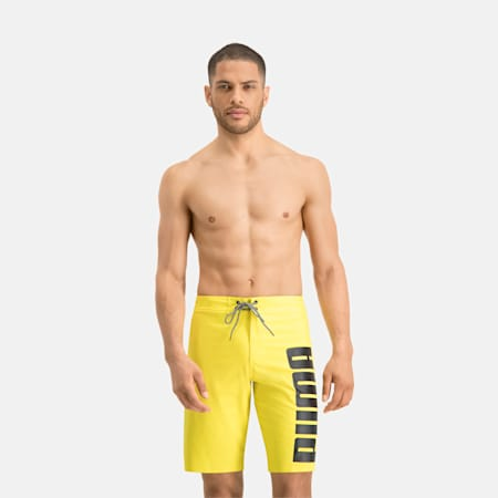 PUMA Swim Men's Long Boardshorts, yellow, small