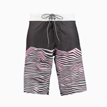 PUMA Swim Men's Waves Pattern Long Boardshorts, black, small