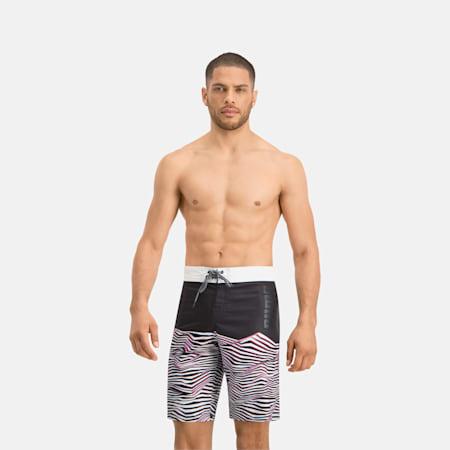 PUMA Swim Herren Lange Boardshorts mit Wellenmuster, black, small