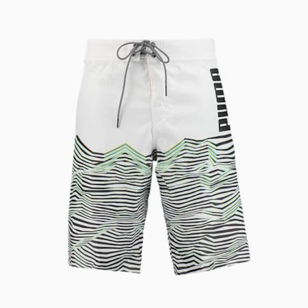 PUMA Swim Men's Waves Pattern Long Boardshorts, white, small