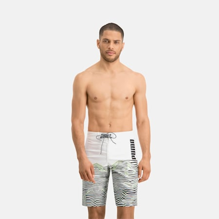 Długie męskie szorty surfingowe z wzorem fal PUMA Swim, white, small