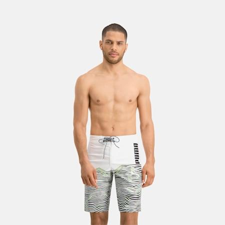 PUMA Swim Herren Lange Boardshorts mit Wellenmuster, white, small