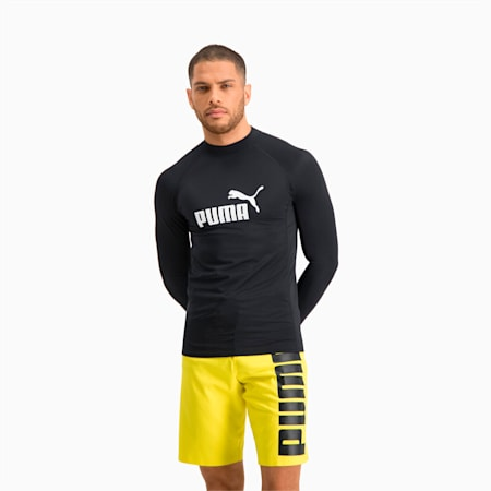 PUMA Swim Men's Long Sleeve Rash Guard, black, small