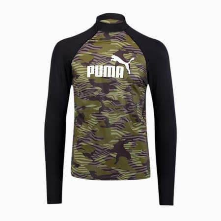PUMA Swim Men's Patterned Long Sleeve Rash Guard, black/olive, small