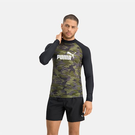 PUMA Swim Men's Patterned Long Sleeve Rash Guard, black/olive, small
