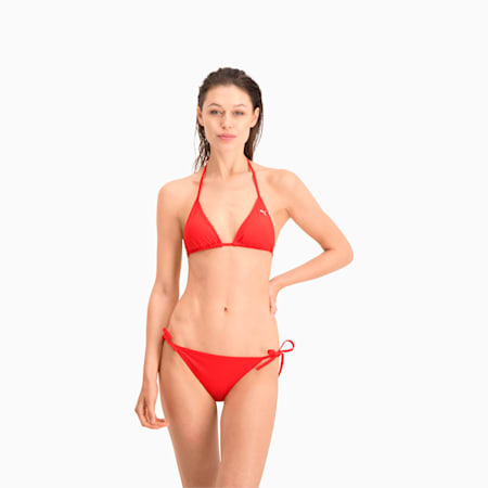 PUMA Swim Women's Triangle Bikini Top, red, small